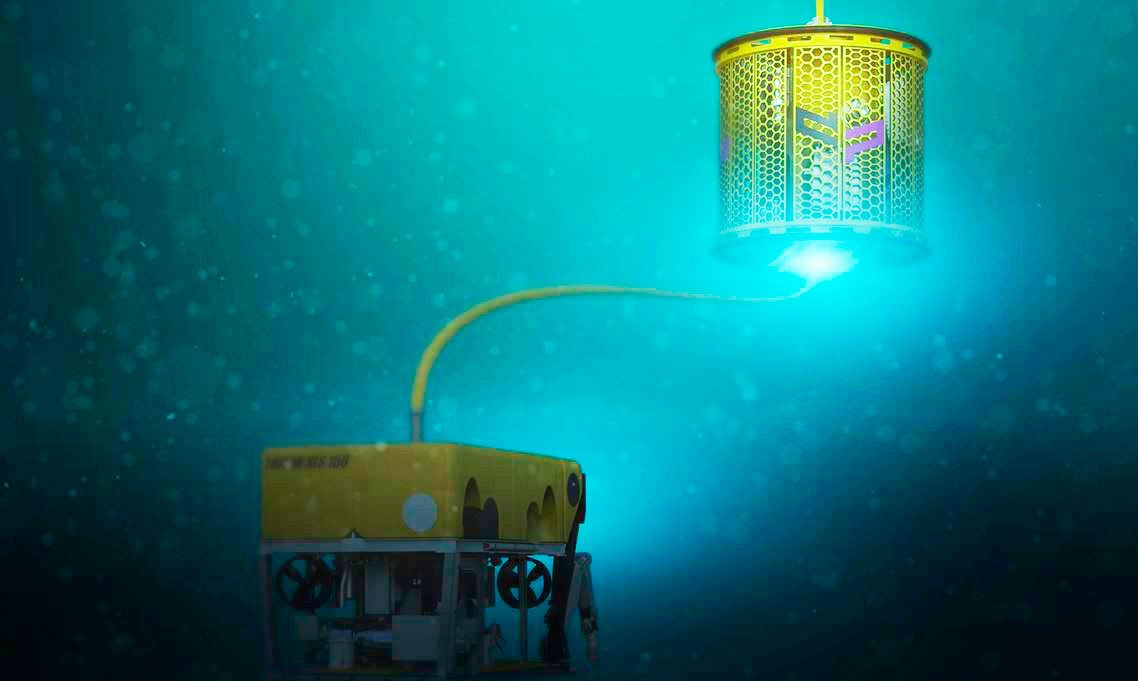 Illustration of a 3th generation of a fully electrical subsea TMS along with an ROV.