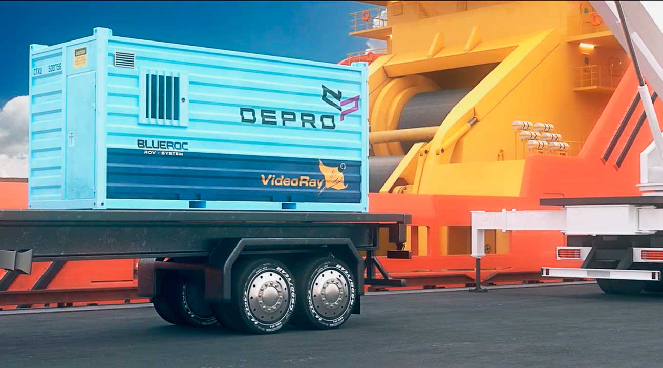 An illustration of Depro's new ROV solution BLUEROC for inspection down to 2000 meters depth underwater. A subsea equipment that is more flexible and cost effective. BLUEROC on a truck ready to be loading on a ship.