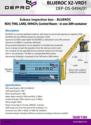 Product sheet for Subsea inspection box.