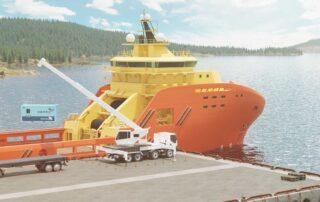 Illustration of a crane truck lifting a BLUEROC ROV solution on a ship