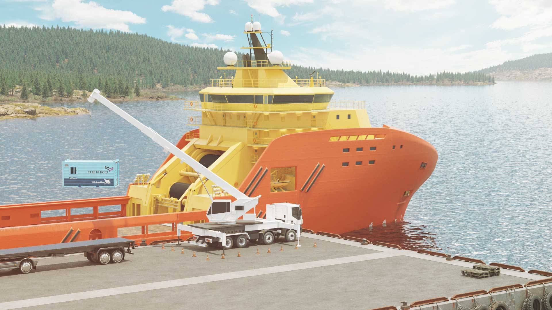 Illustration of a crane truck lifting a BLUEROC ROV solution on a ship