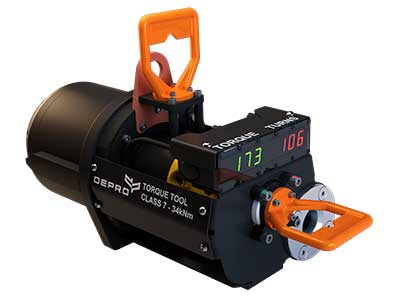 Torque tool class 7 from Depro AS designed for use subsea, and remote operated through ROV. White background.