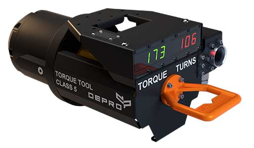 Torque tool class 5 from Depro AS designed for use subsea, and remote operated through ROV. White background.