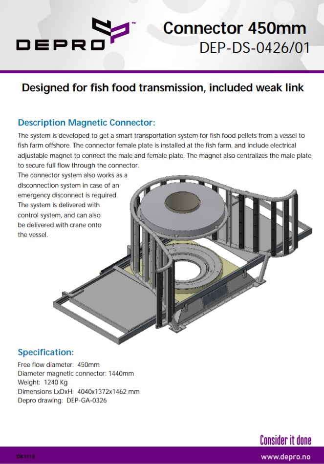 Magnet Connector is a smart transportation system for fish food pellets from a vessel to a fish farm offshore.
