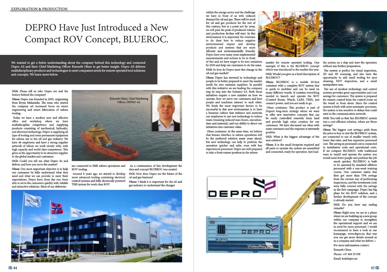 Facsimile of an article about Depro AS in Oil & Gas Innovation magazine.