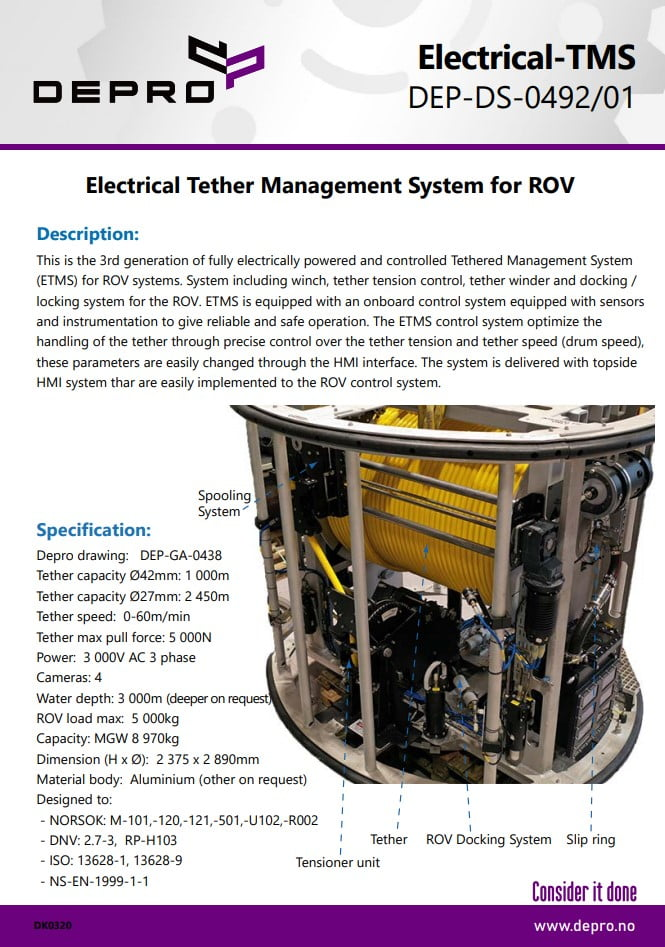 Product sheet of Electrical Tether Management System for ROV produced by Depro AS.