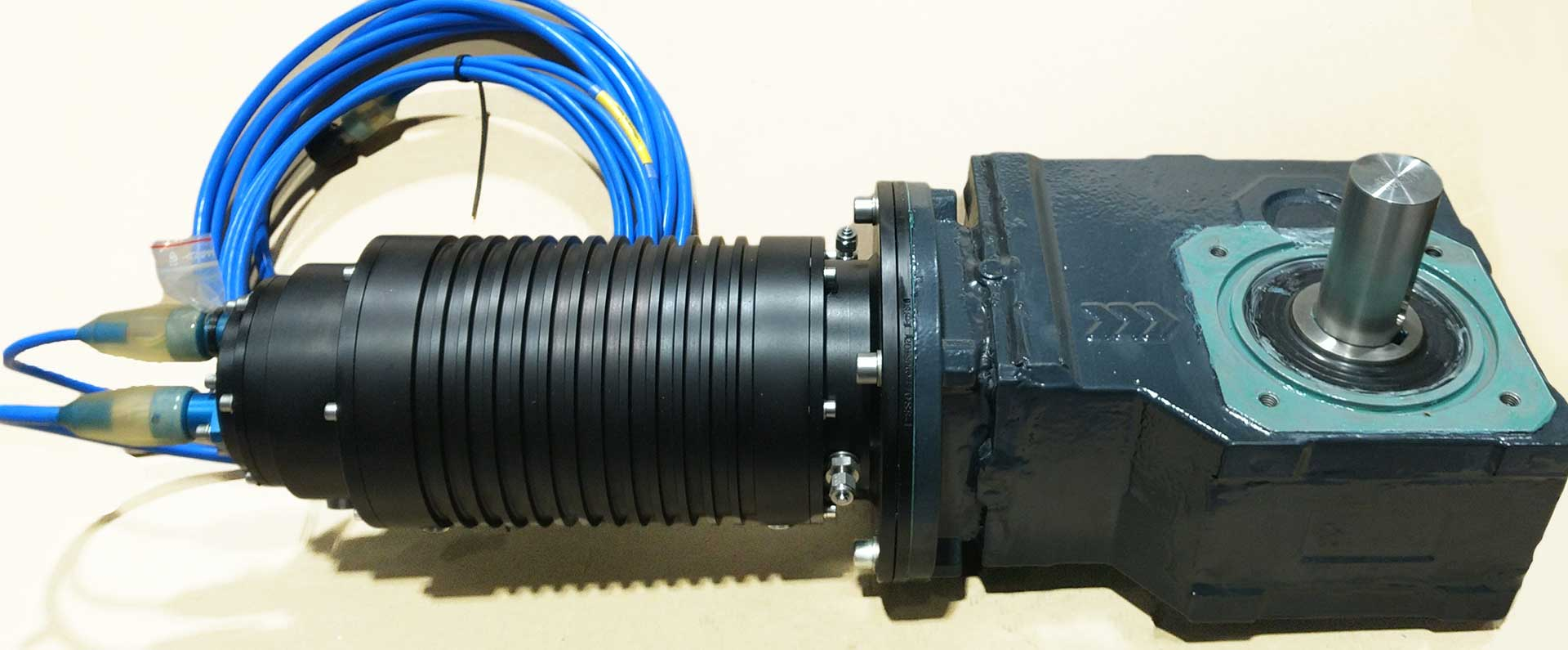 Electro motor and gear system designed for subsea use.