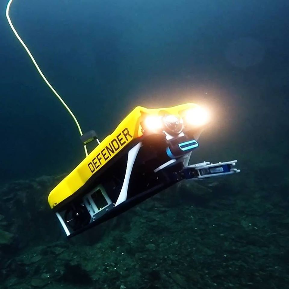 ROV Defender produced by VideoRay LLC in action underwater.