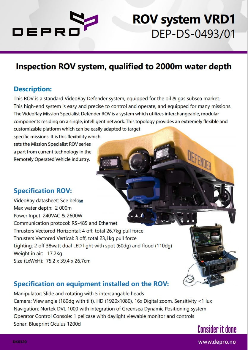 Product sheet for ROV Defender produced by VideoRay LLC.