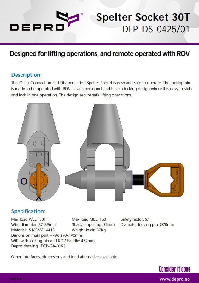 Product sheet for Shackle for lifting operations, and remote operated with ROV.