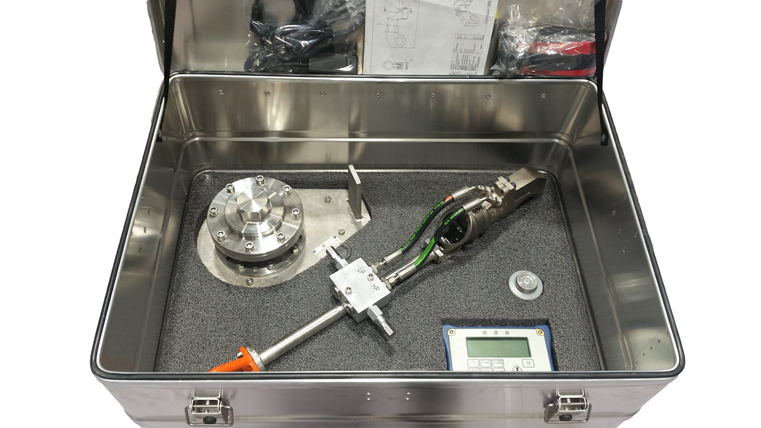 Torque wrench for subsea use produced by Depro AS lying in an aluminum box with foam ready for transport.