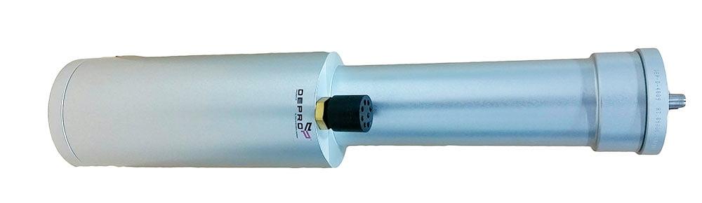 Electrical brushless subsea servo motor isolatet with white background.